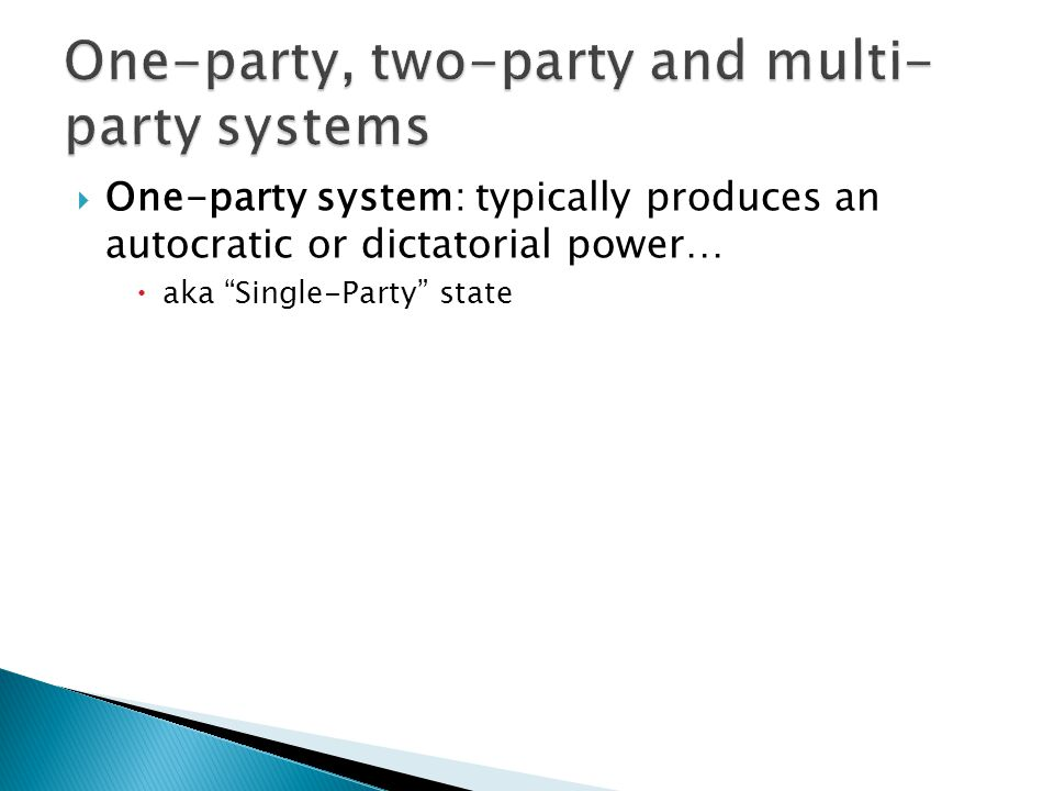 One-party, two-party and multi-party systems