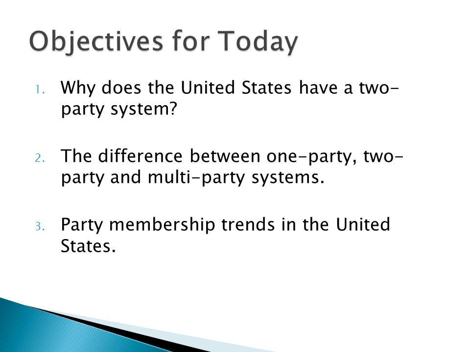 Objectives for Today Why does the United States have a two- party system The difference between one-party, two- party and multi-party systems.