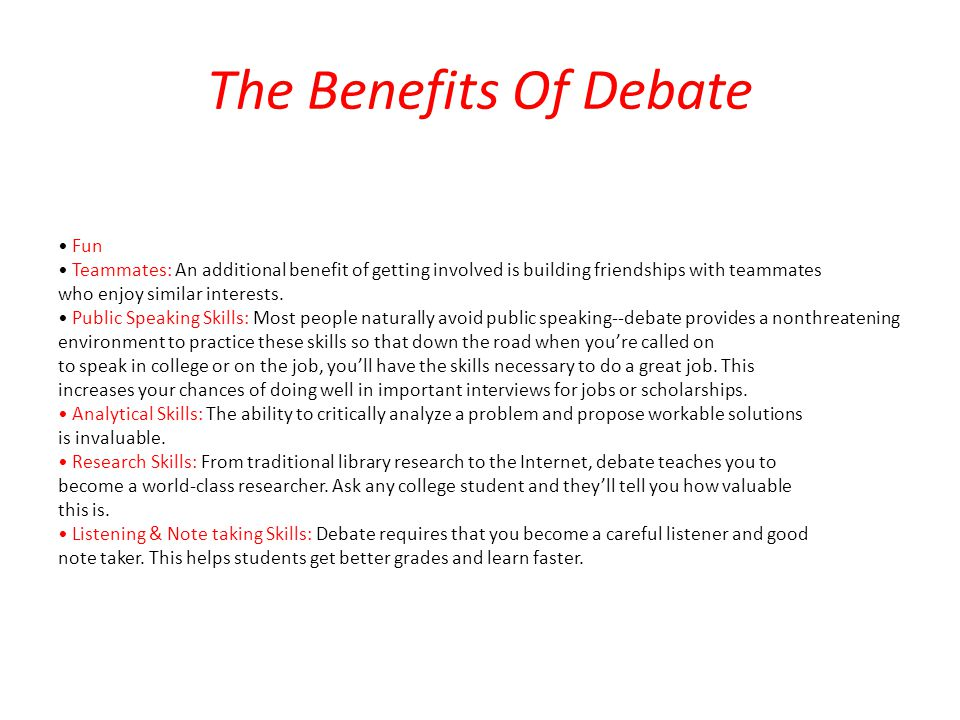 The Benefits Of Debate • Fun