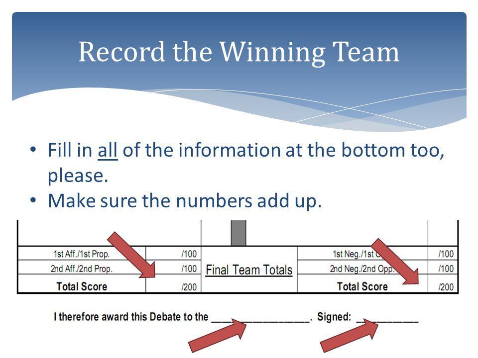 Record the Winning Team