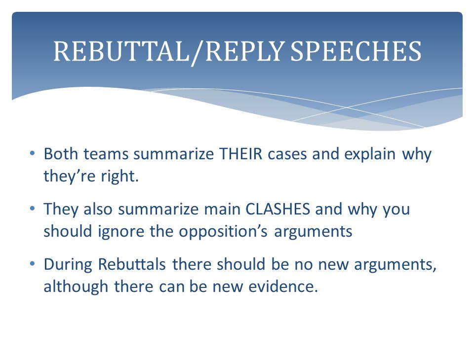 REBUTTAL/REPLY SPEECHES