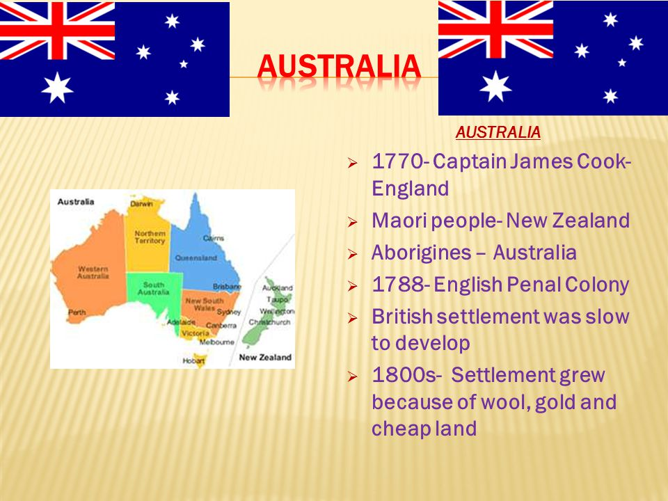 Australia 1770- Captain James Cook- England Maori people- New Zealand