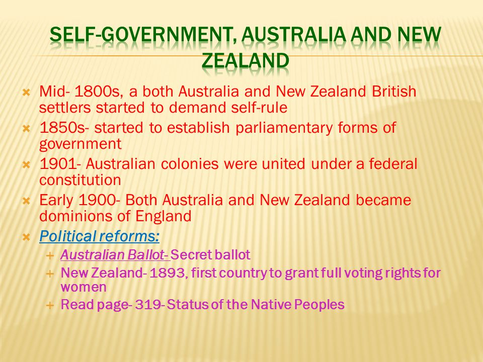 SELF-GOVERNMENT, AUSTRALIA AND NEW ZEALAND
