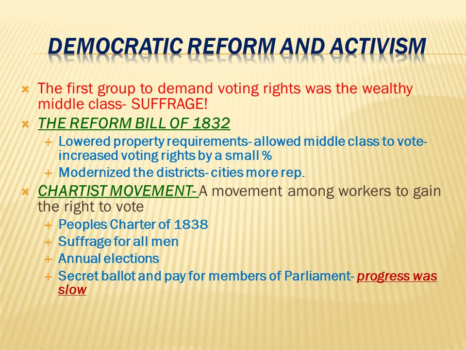 DEMOCRATIC REFORM AND ACTIVISM