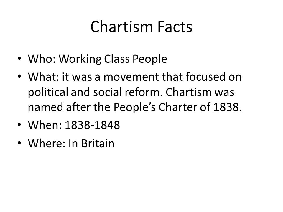Chartism Facts Who: Working Class People