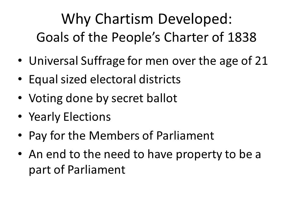 Why Chartism Developed: Goals of the People's Charter of 1838