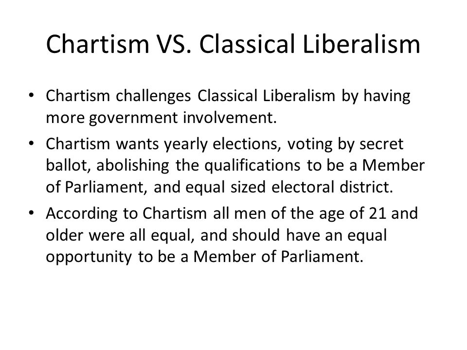 Chartism VS. Classical Liberalism