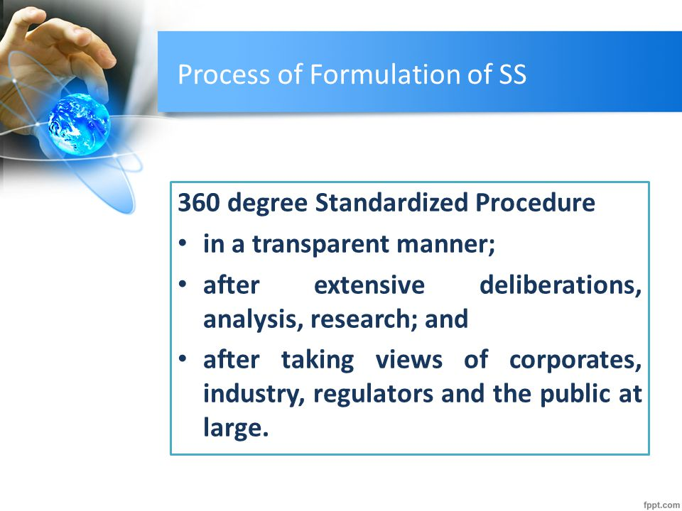 Process of Formulation of SS