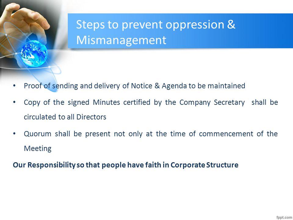 Steps to prevent oppression & Mismanagement