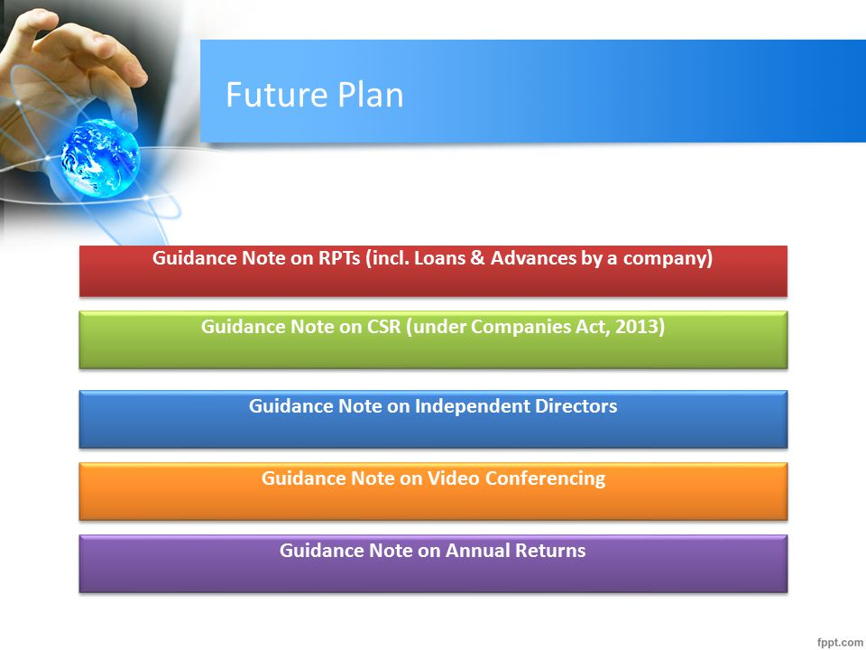 Future Plan Guidance Note on RPTs (incl. Loans & Advances by a company) Guidance Note on CSR (under Companies Act, 2013)