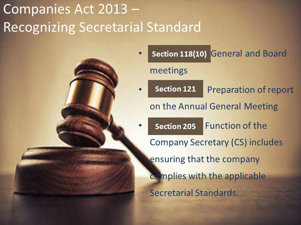 Companies Act 2013 – Recognizing Secretarial Standard