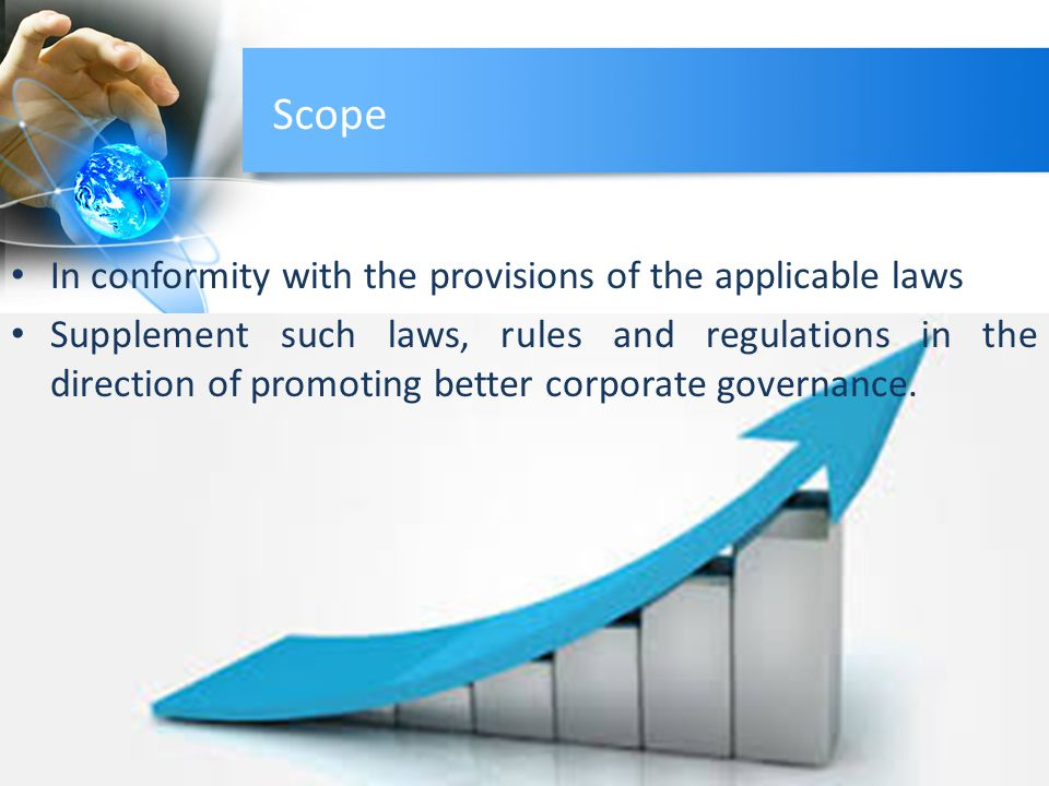 Scope In conformity with the provisions of the applicable laws