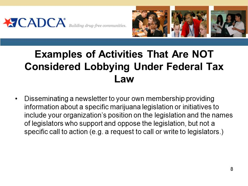 Examples of Activities That Are NOT Considered Lobbying Under Federal Tax Law