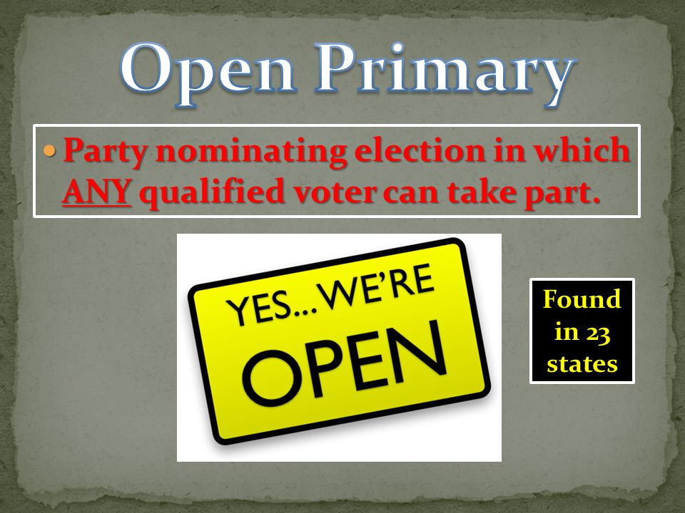 Open Primary Party nominating election in which ANY qualified voter can take part.