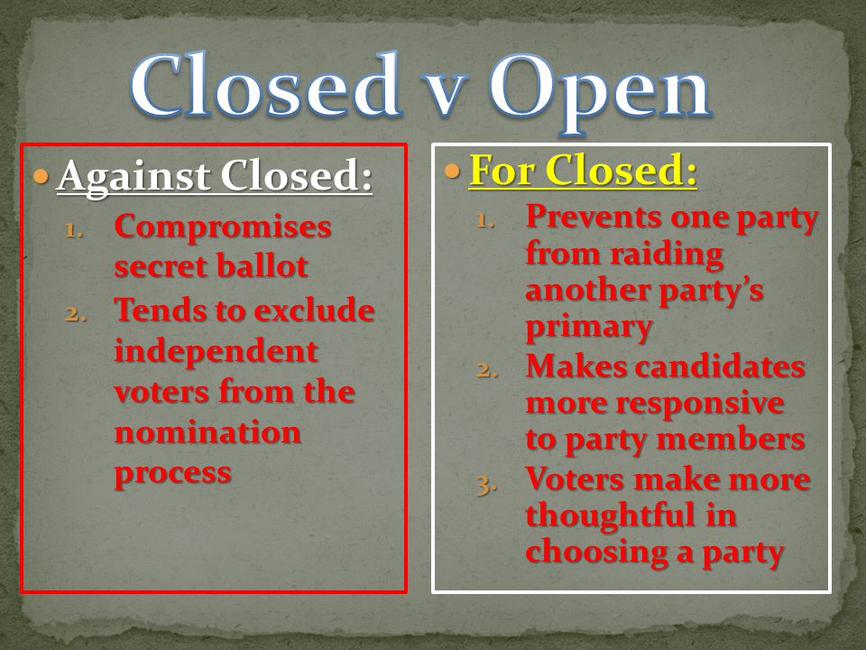 Closed v Open Against Closed: For Closed: