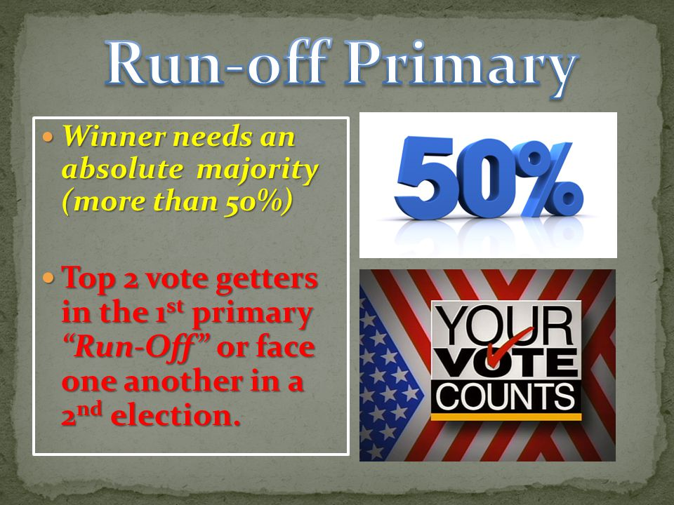 Run-off Primary Winner needs an absolute majority (more than 50%)