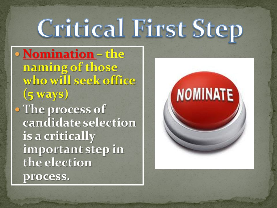 Critical First Step Nomination – the naming of those who will seek office (5 ways)