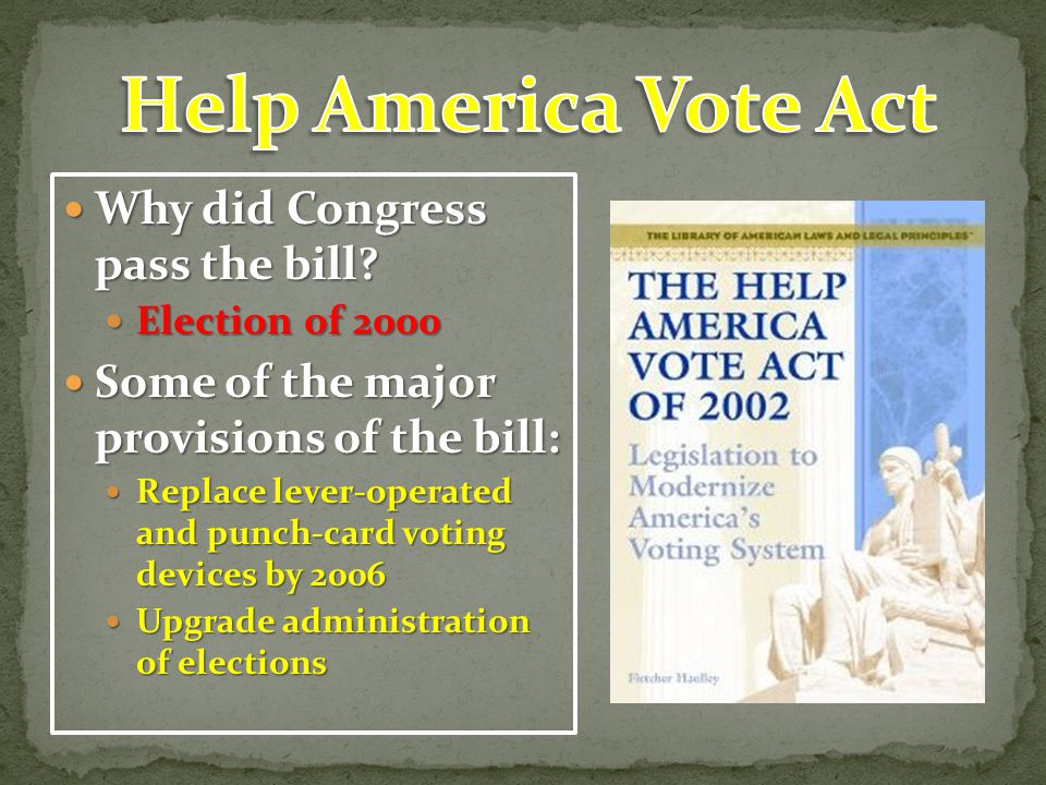 Help America Vote Act Why did Congress pass the bill