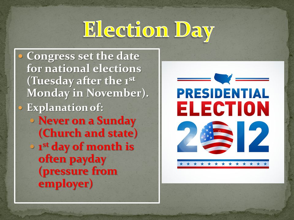 Election Day Congress set the date for national elections (Tuesday after the 1st Monday in November).