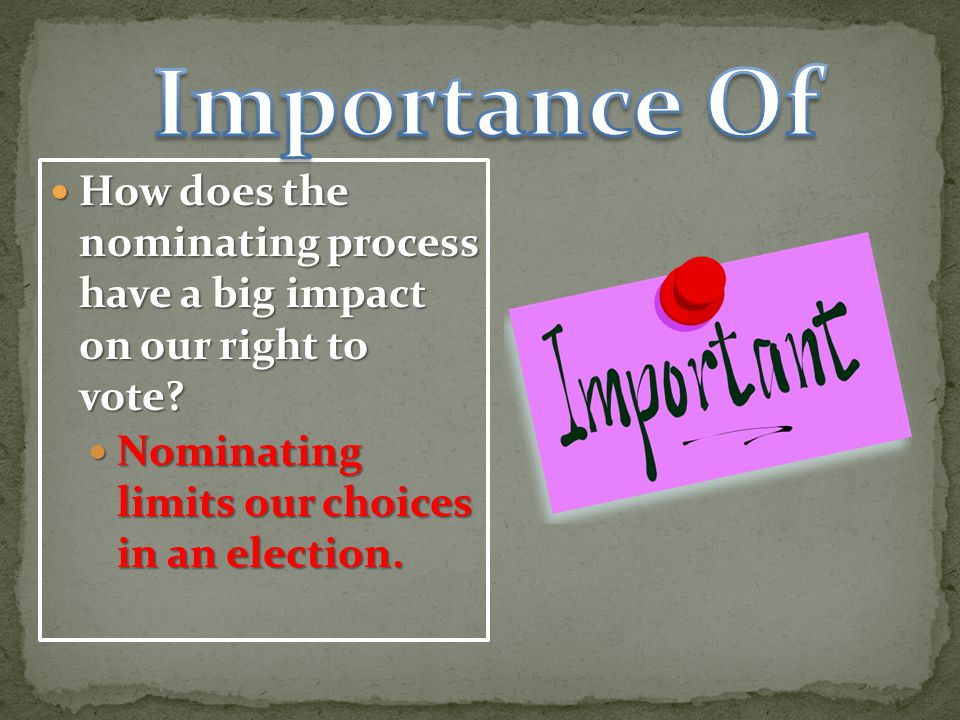 Importance Of How does the nominating process have a big impact on our right to vote.