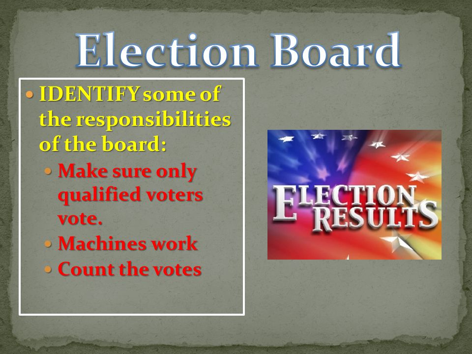 Election Board IDENTIFY some of the responsibilities of the board: