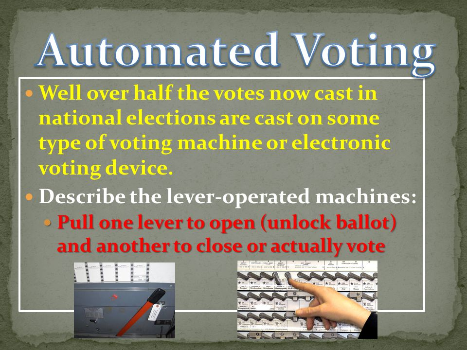 Automated Voting Well over half the votes now cast in national elections are cast on some type of voting machine or electronic voting device.