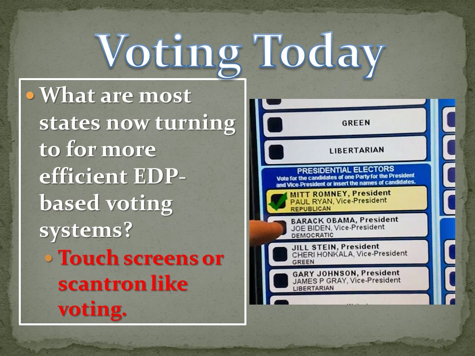 Voting Today What are most states now turning to for more efficient EDP- based voting systems.