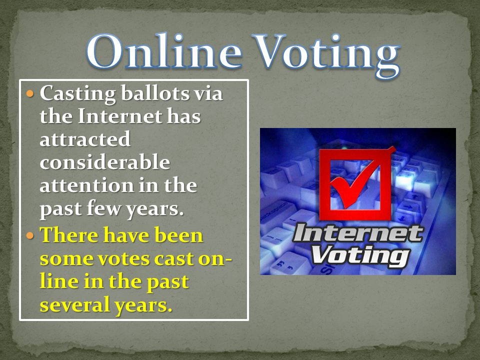 Online Voting Casting ballots via the Internet has attracted considerable attention in the past few years.