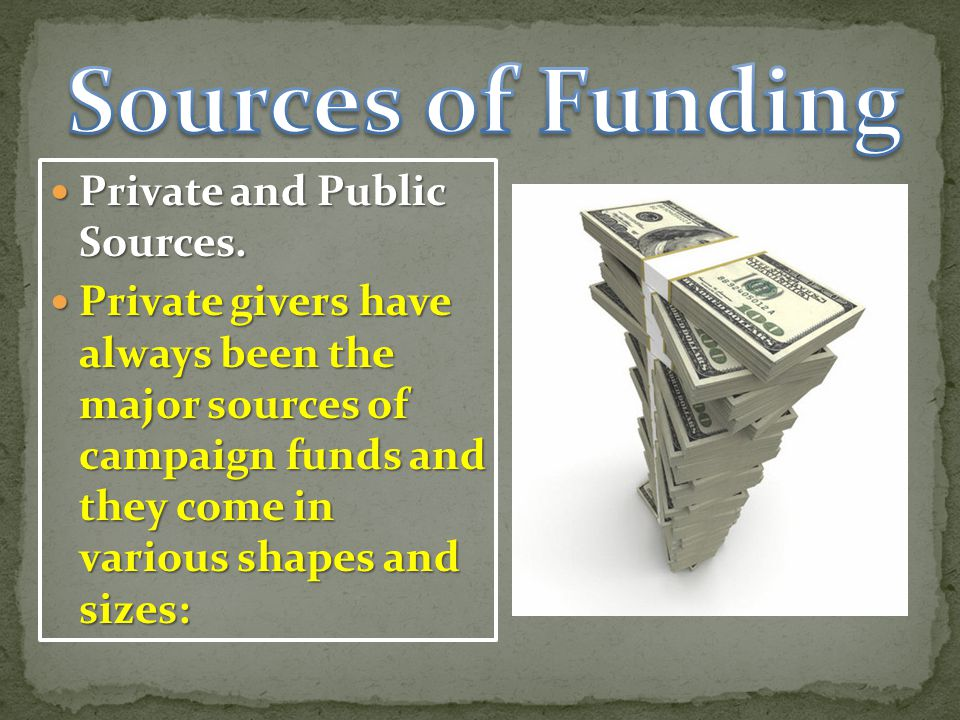 Sources of Funding Private and Public Sources.