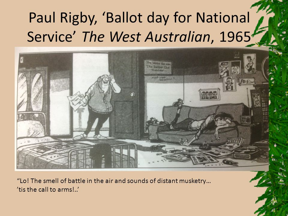 Paul Rigby, 'Ballot day for National Service' The West Australian, 1965