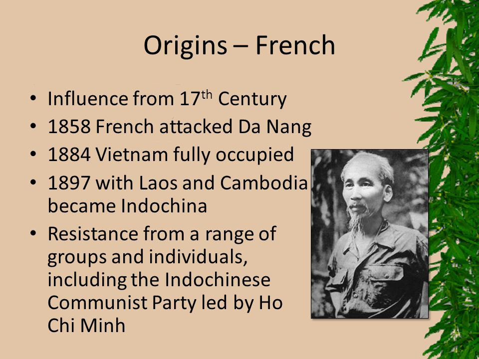 Origins – French Influence from 17th Century