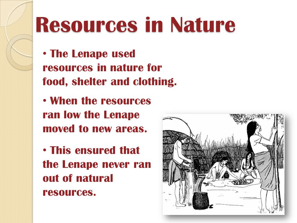 Resources in Nature The Lenape used resources in nature for food, shelter and clothing. When the resources ran low the Lenape moved to new areas.