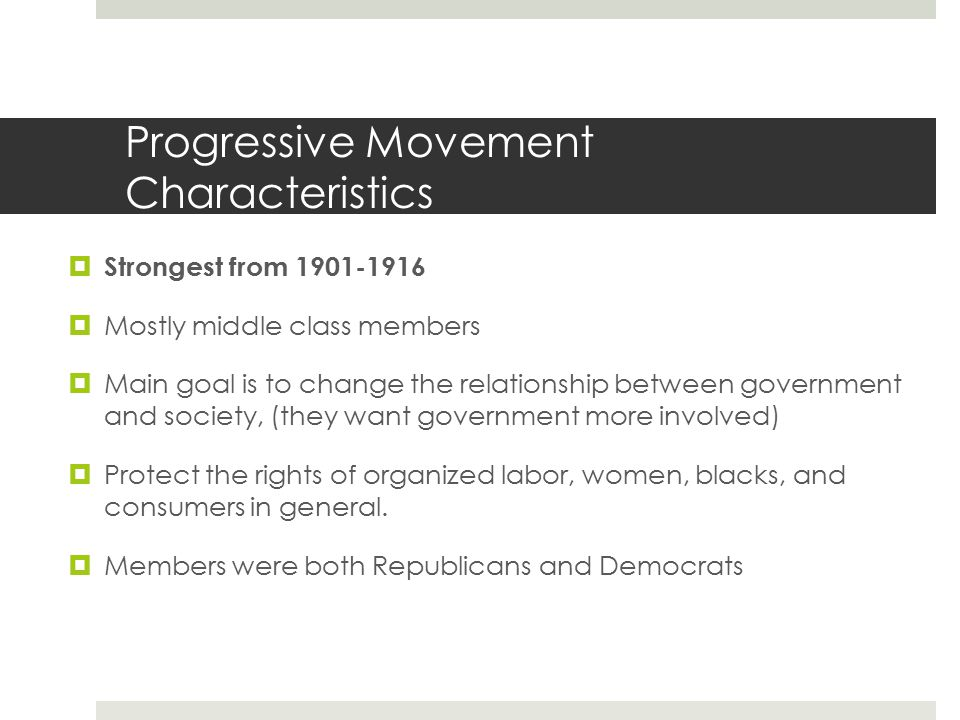 Progressive Movement Characteristics