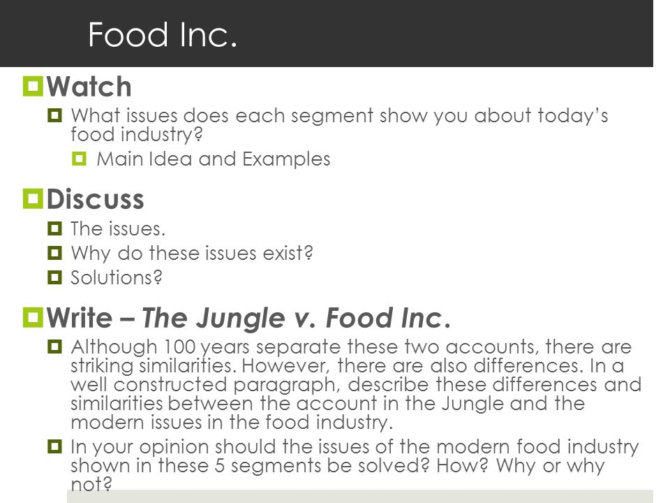 Food Inc. Watch Discuss Write – The Jungle v. Food Inc.