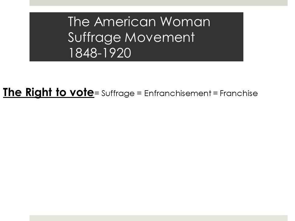 The American Woman Suffrage Movement 1848-1920