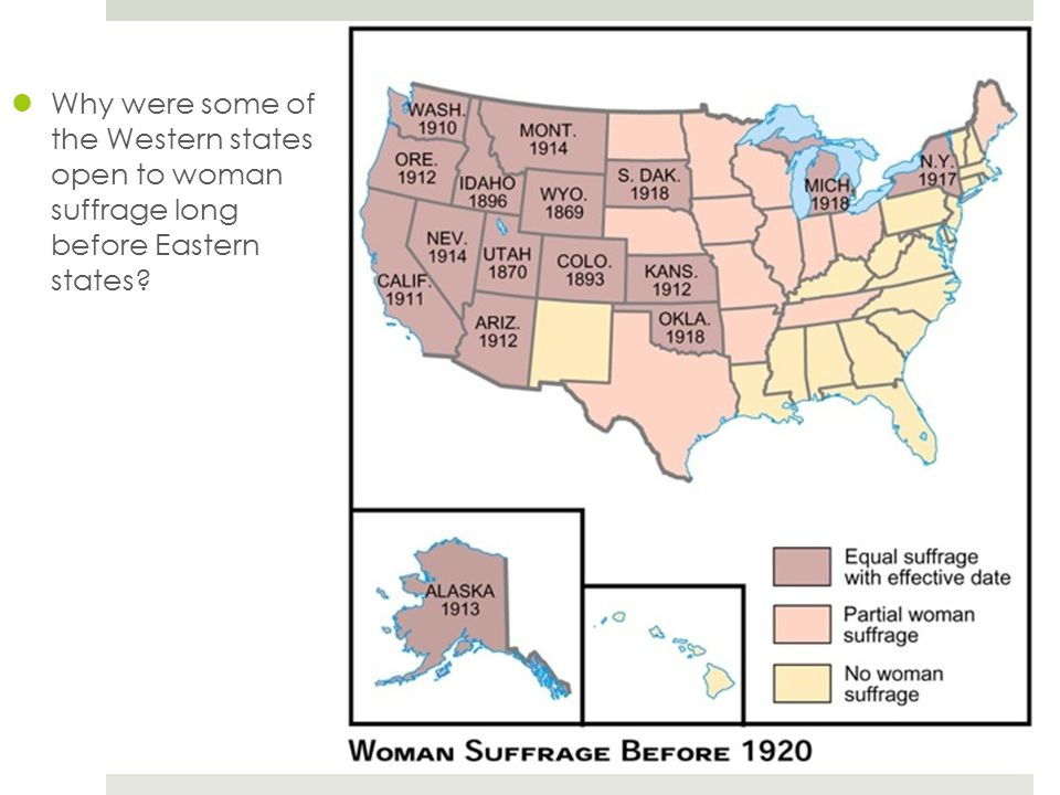 Why were some of the Western states open to woman suffrage long before Eastern states