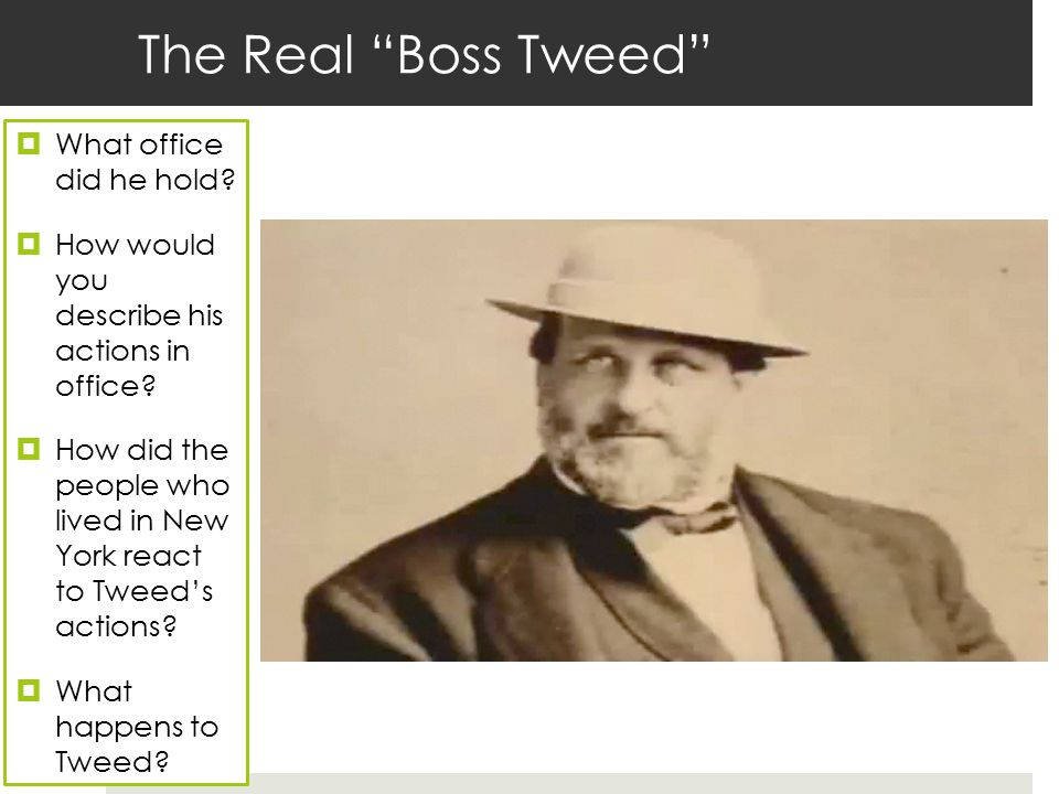 The Real Boss Tweed What office did he hold