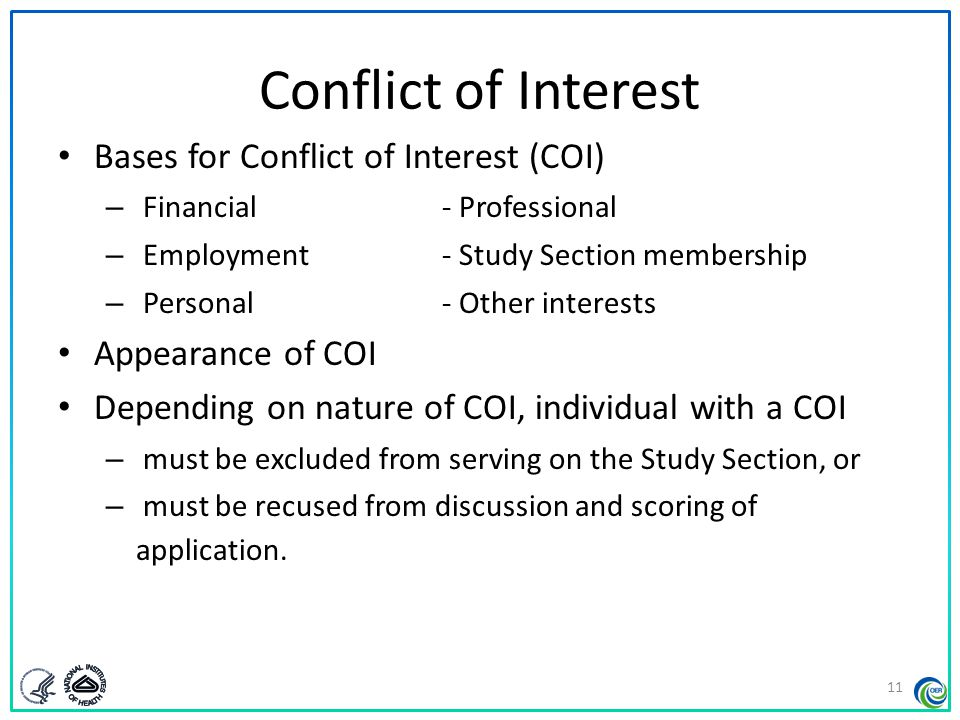 Conflict of Interest Bases for Conflict of Interest (COI)