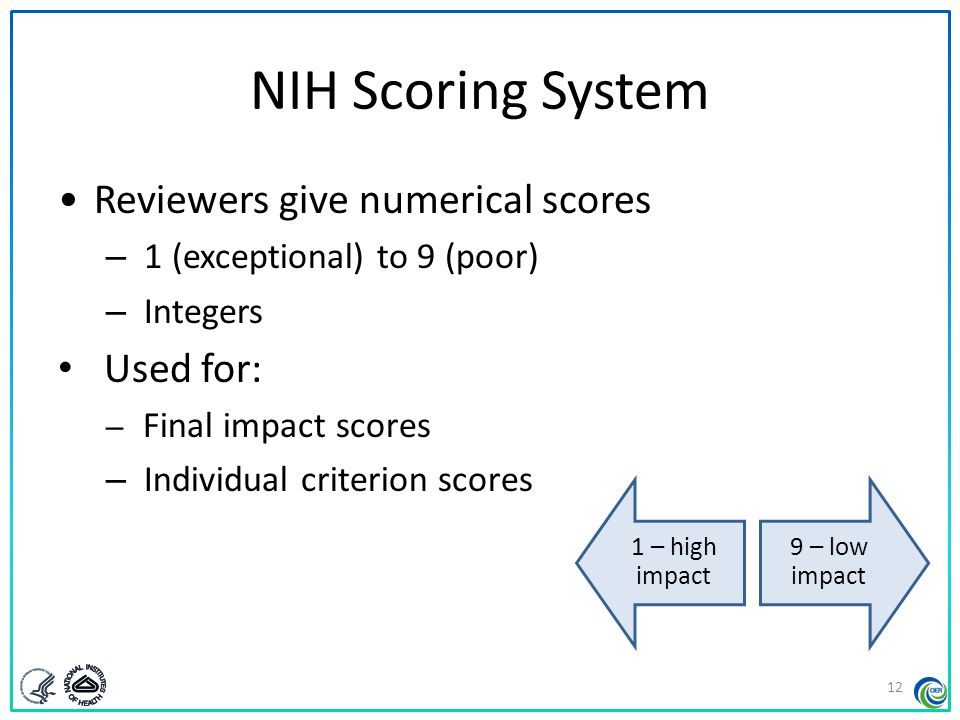 NIH Scoring System Reviewers give numerical scores Used for: