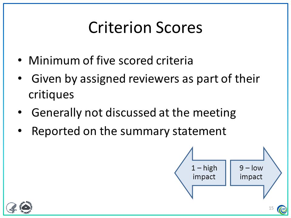 Criterion Scores Minimum of five scored criteria