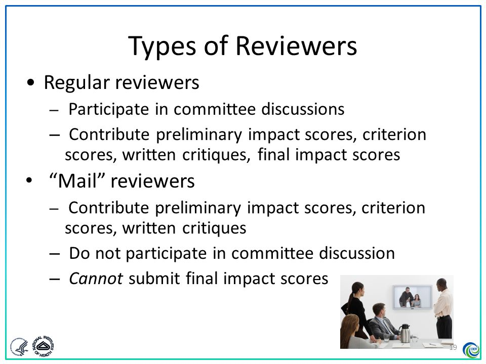 Types of Reviewers Regular reviewers Mail reviewers
