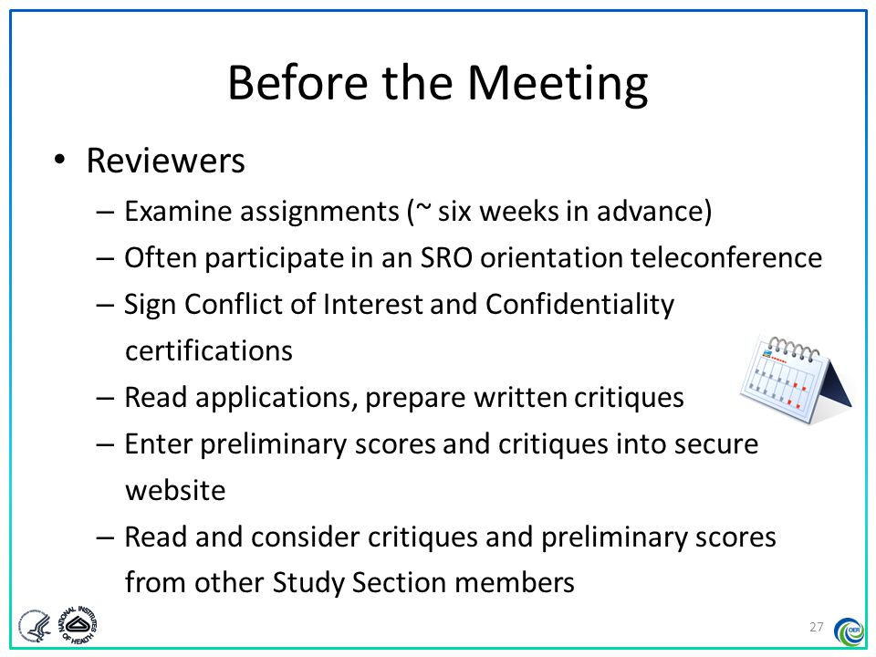 Before the Meeting Reviewers