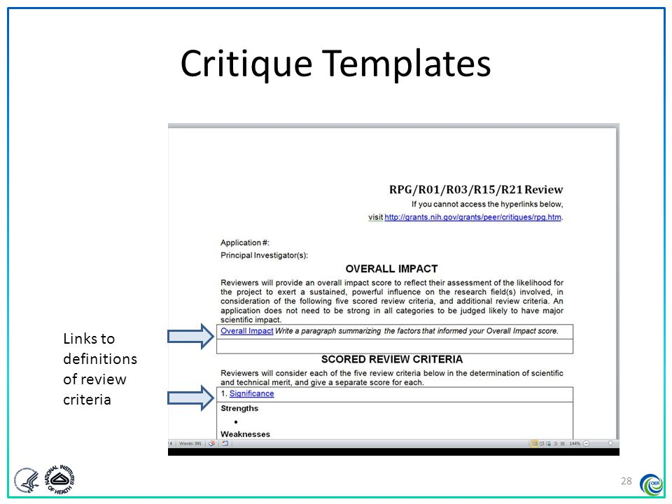 Critique Templates Links to definitions of review criteria