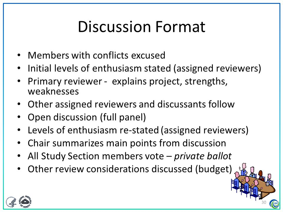 Discussion Format Members with conflicts excused