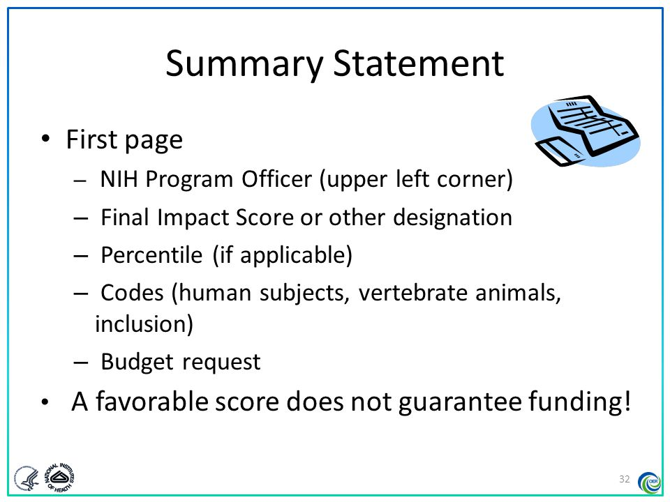 Summary Statement First page Final Impact Score or other designation