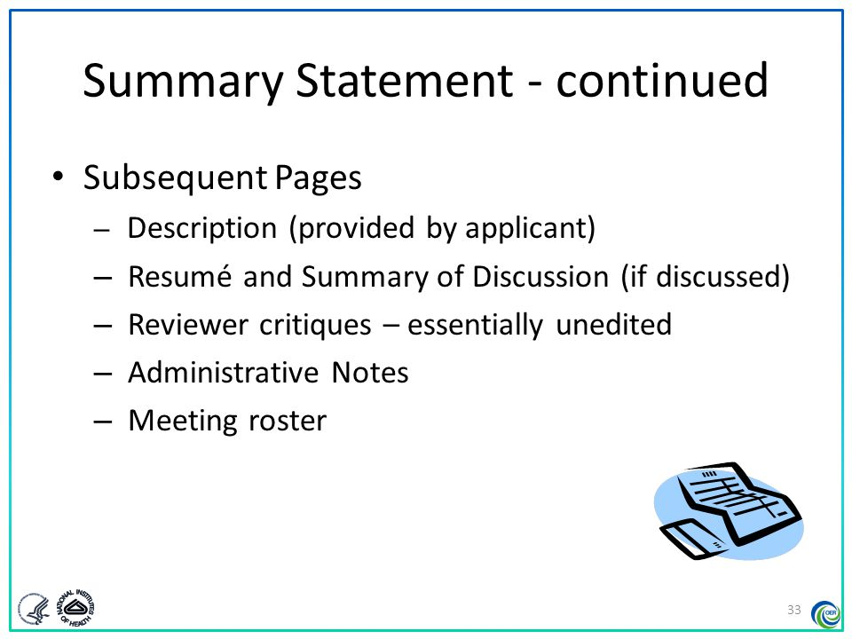 Summary Statement - continued