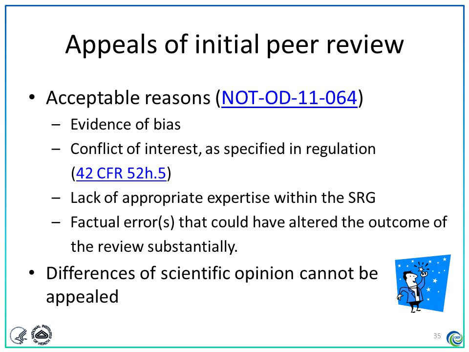 Appeals of initial peer review