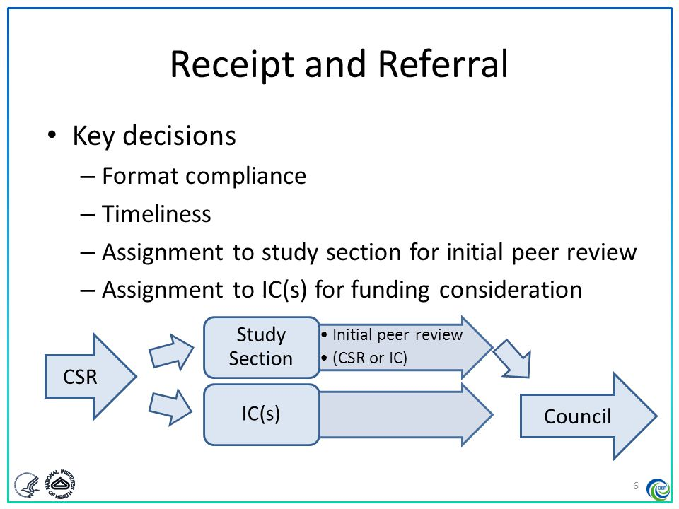 Receipt and Referral Key decisions Format compliance Timeliness