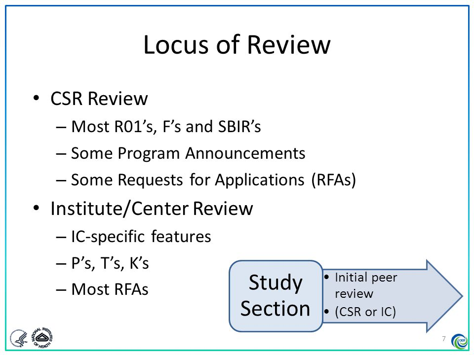 Locus of Review Study Section CSR Review Institute/Center Review
