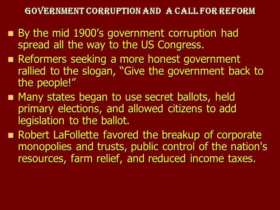 Government Corruption and a Call for Reform